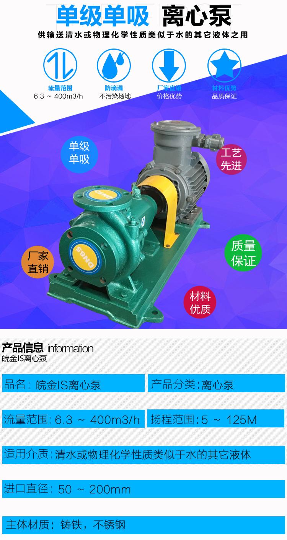 皖金大流量清水泵,清水泵規格型號,is臥式水泵,防腐管道泵,鑄鐵泵型號示例圖2