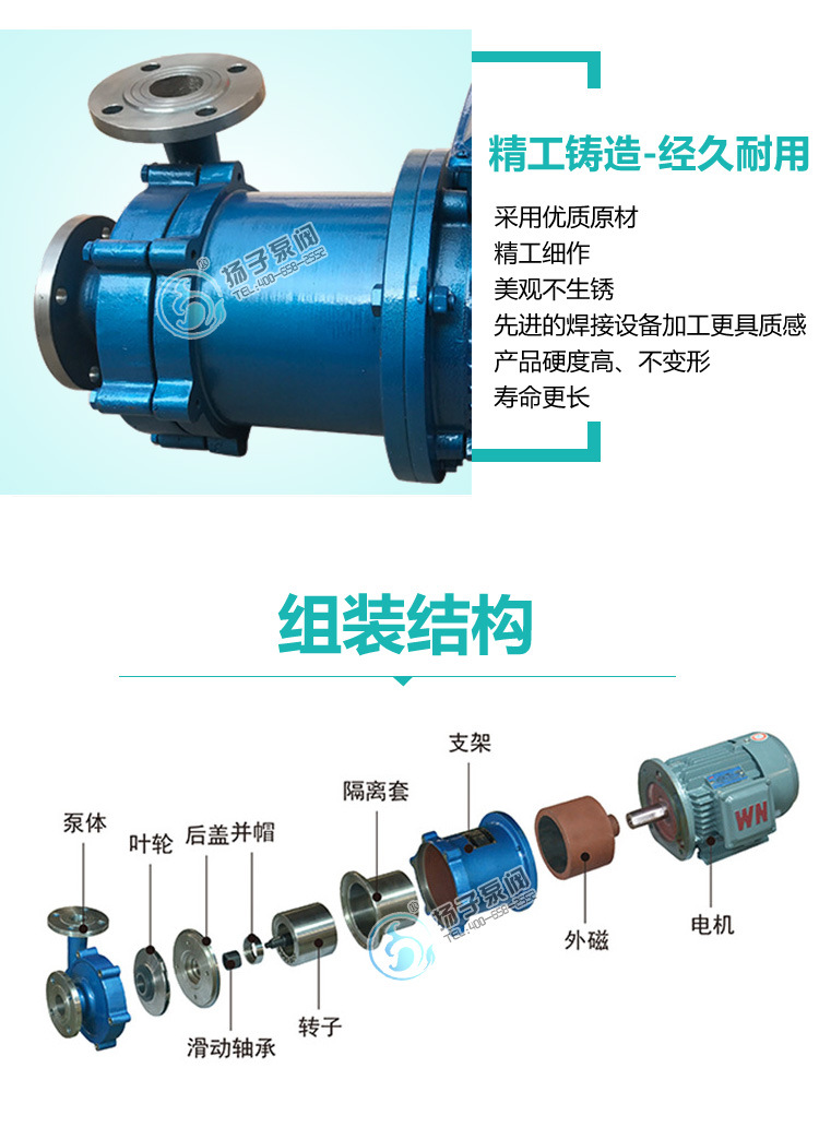 厂家热销 CQ系列耐腐蚀磁力泵 65CQ-32 不锈钢磁力泵 304材质示例图8
