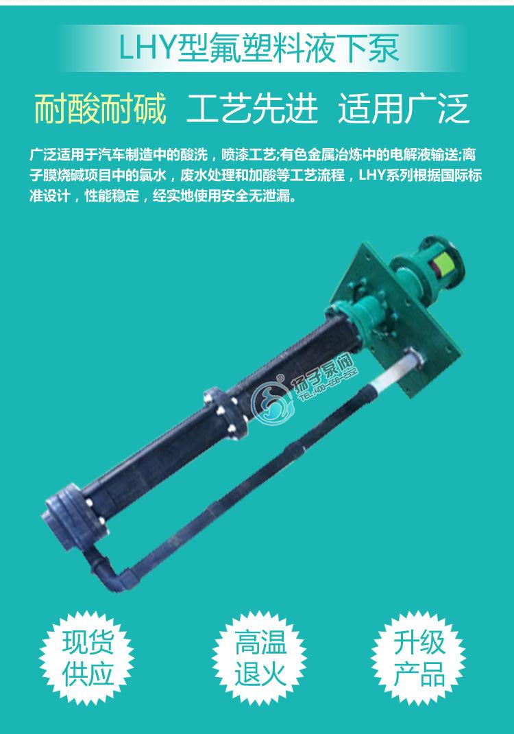 32LHY-20耐腐蚀液下泵 氟塑料液下泵 脱硫泵 脱硝泵 厂家直销示例图3