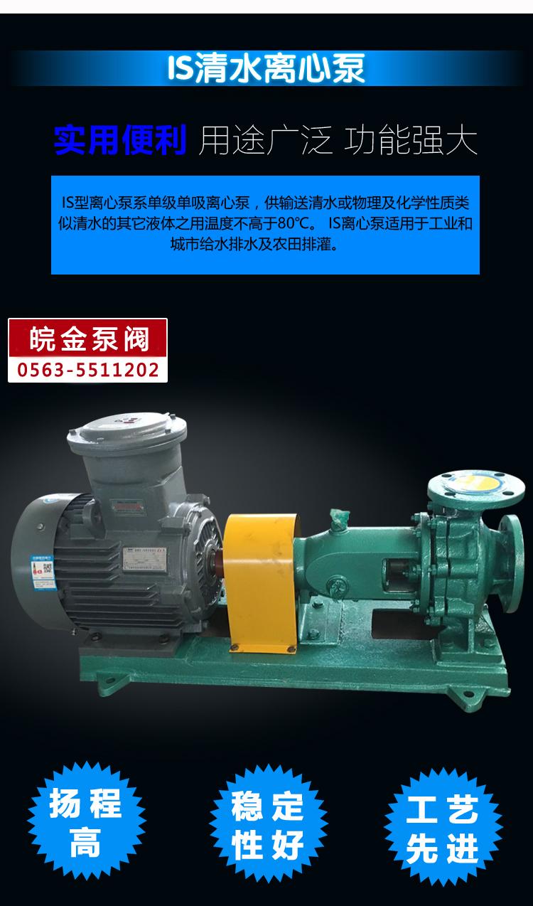 皖金大流量清水泵,清水泵規格型號,is臥式水泵,防腐管道泵,鑄鐵泵型號示例圖4