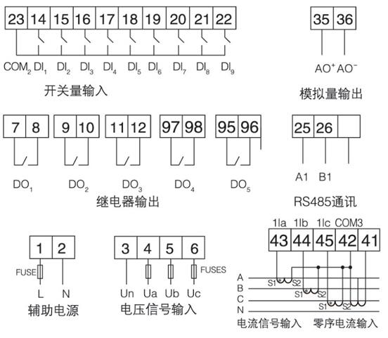 线路保护装置    低压馈线保护   安科瑞ALP200-400  开孔91x44 零序断相不平衡保护 测量控制通讯一体示例图16