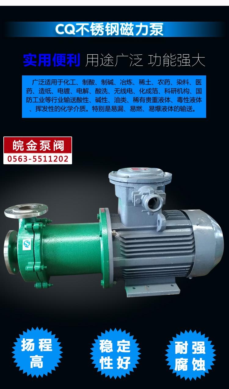 CQB磁力離心泵 不銹鋼磁力泵品牌 化工磁力驅動泵 304.316L磁力管道泵生產示例圖5