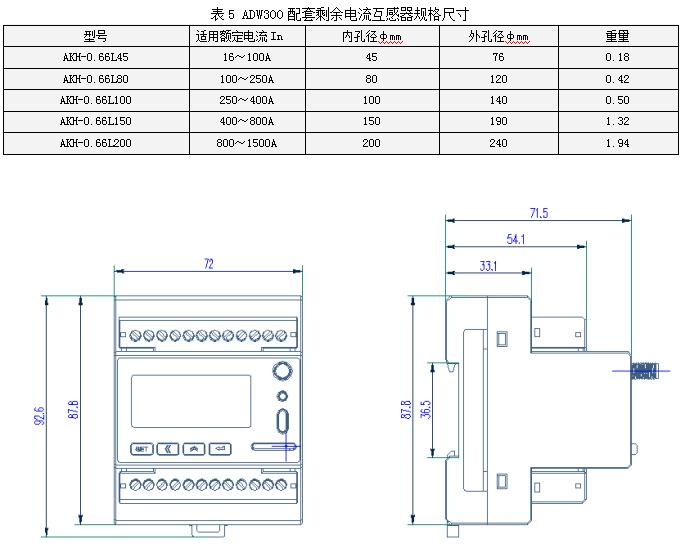 厂家直供安科瑞环保设备在线监测电能表ADW300系列lora无线通讯电能表示例图8