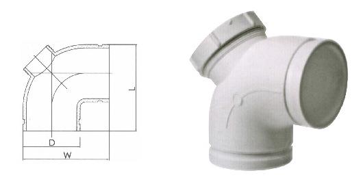 沟槽式HDPE超静音排水管,90度直弯带检,HDPE沟槽管,PE管示例图13