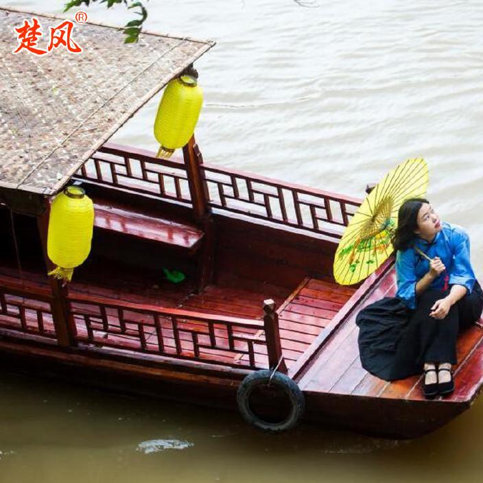 厂家供应热销木质仿古婚纱摄影装饰道具主题酒店摇橹木船乌篷船示例图5