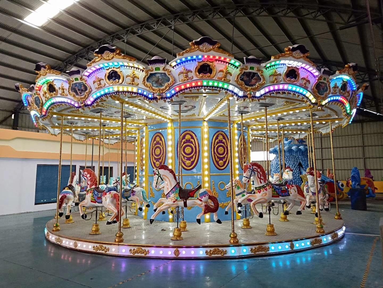 2020新款16座豪华转马夜景图片 儿童游乐设备旋转木马大洋生产厂家游艺设施示例图6