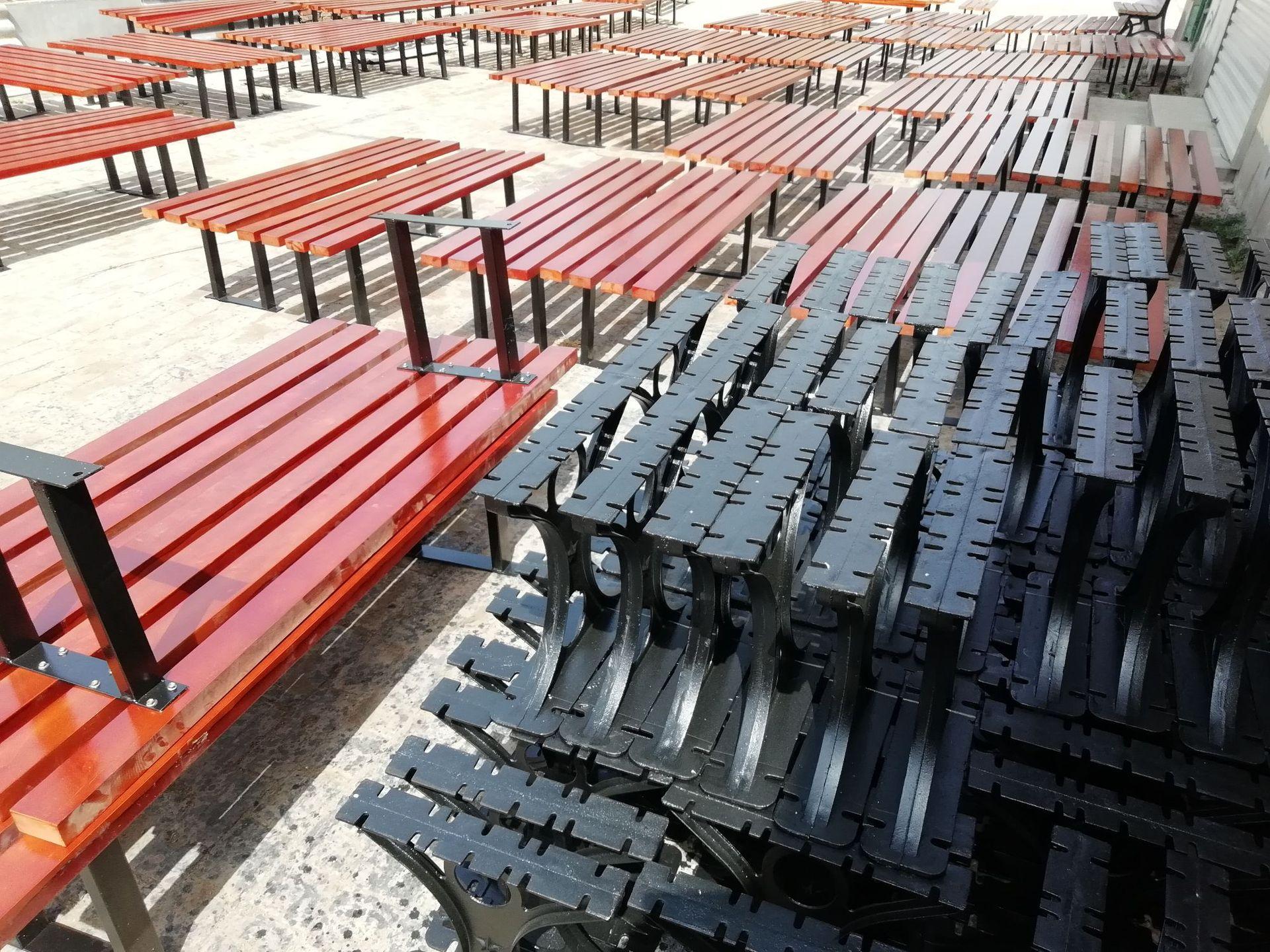 长期供应户外防腐木休闲椅 公园小区座椅 长椅 铸铁腿 实木 塑木示例图22