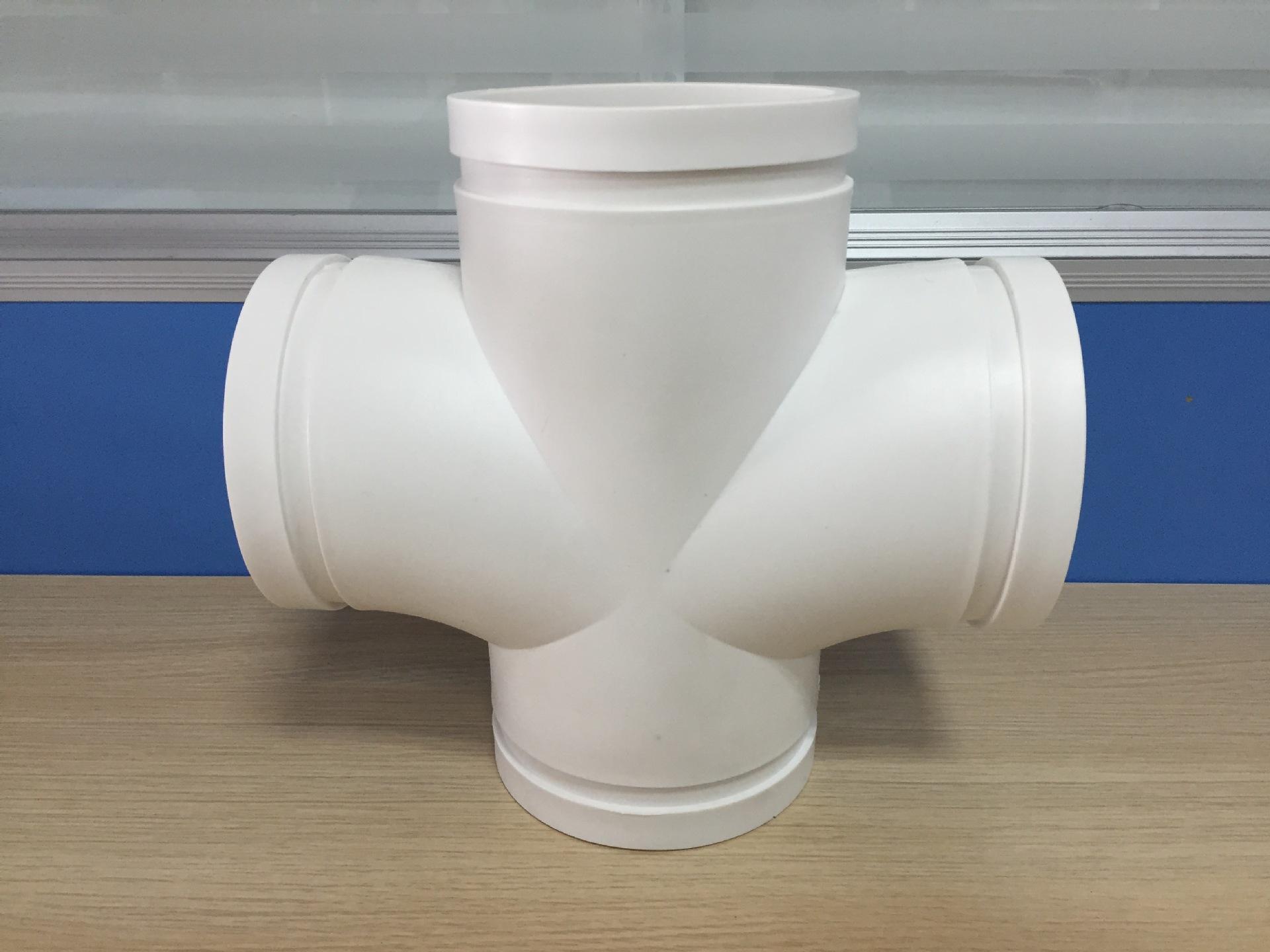 沟槽式HDPE超静音排水管,沟槽式HDPE平面四通,hdpe沟槽管示例图5