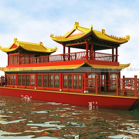 大型水上餐饮船 豪华款水上餐厅船 双层玻璃钢画舫船而一直保持在缄默