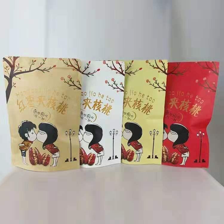 厂家直销红枣夹核桃包装袋自立拉链牛皮纸袋子现货可定制