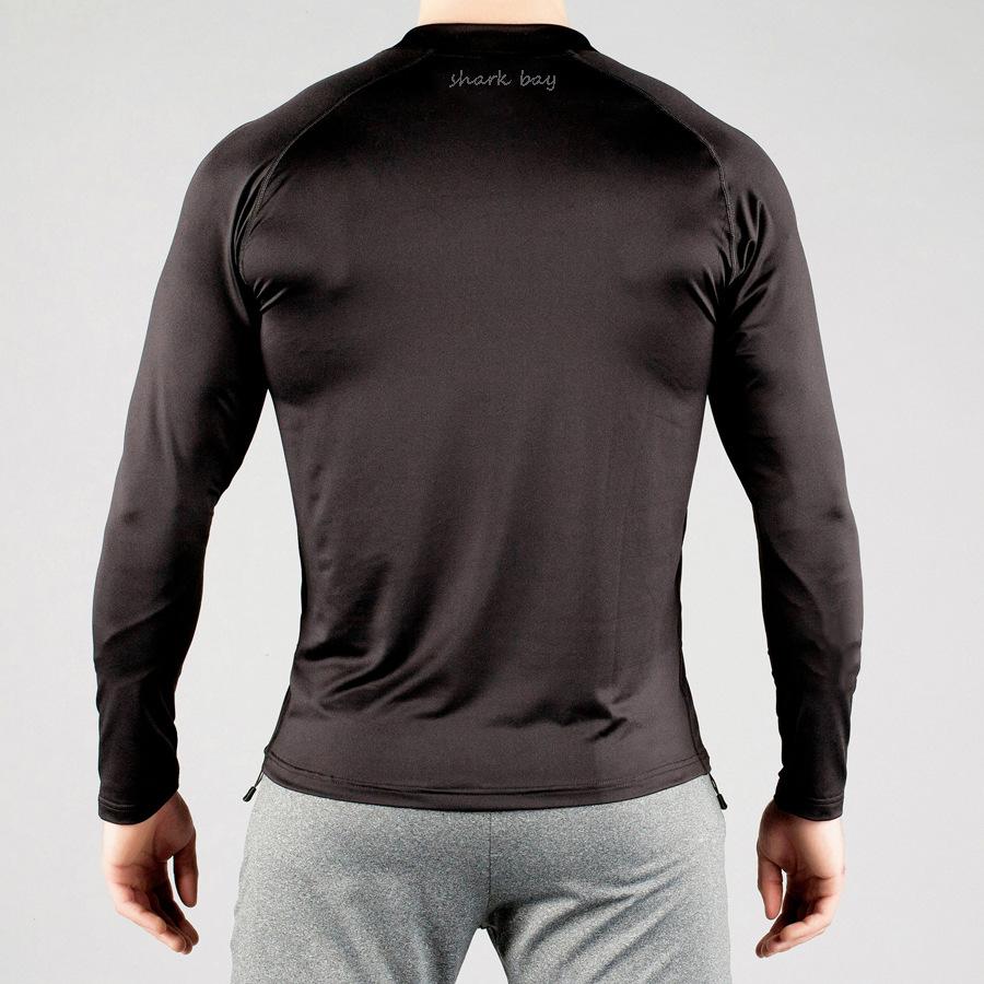 蒂贝鲨肌肉兄弟健身速干高弹长袖紧身上衣运动透气紧身长袖T恤示例图7