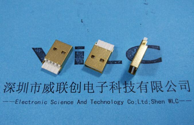 USB2.0 AM镀金双面插公头焊线式A公 白胶 正反插USB公座示例图2