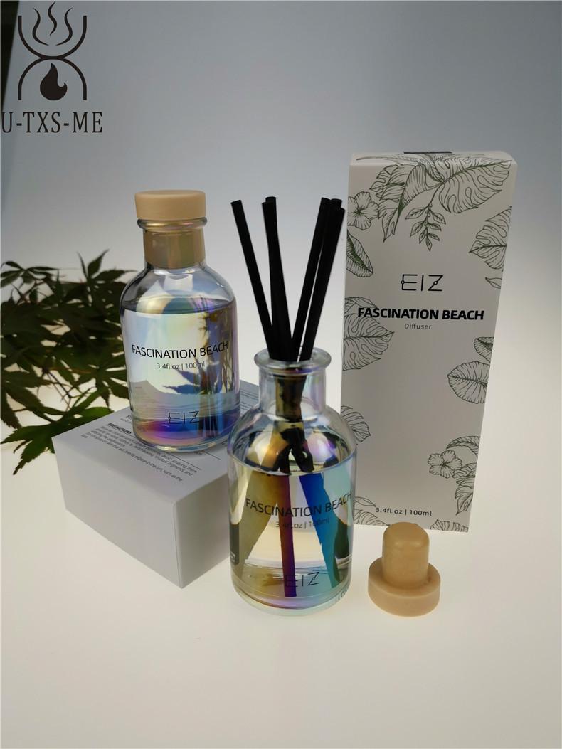 厂家定制镭射100ml香水玻璃瓶家居植物精油环保无火藤条香熏示例图3