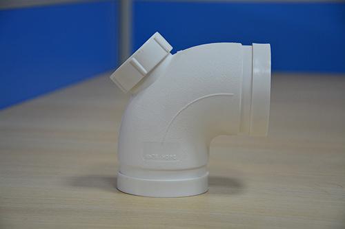 沟槽式HDPE排水管,HDPE沟槽中空管,PE排水管,90°弯头(带检)示例图1