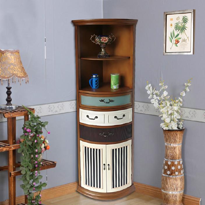 廠家直銷美式鄉村彩繪家具客廳復古裝飾邊柜 臥室墻角收納儲物柜