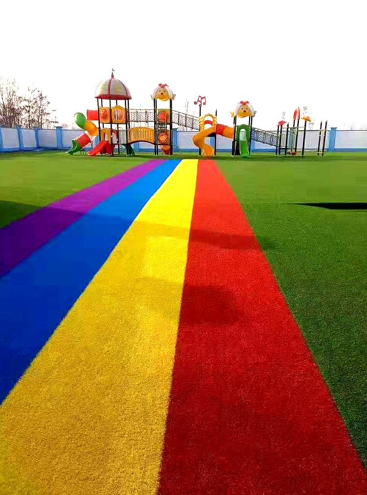 仿真草坪人造草 假草坪地毯 幼儿园彩色草皮人工塑料假草绿色户外示例图8