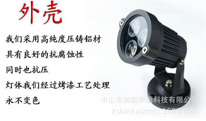 LED投射灯3w6w户外防水地插灯 草坪投射灯圆形插地灯花园射树灯示例图8