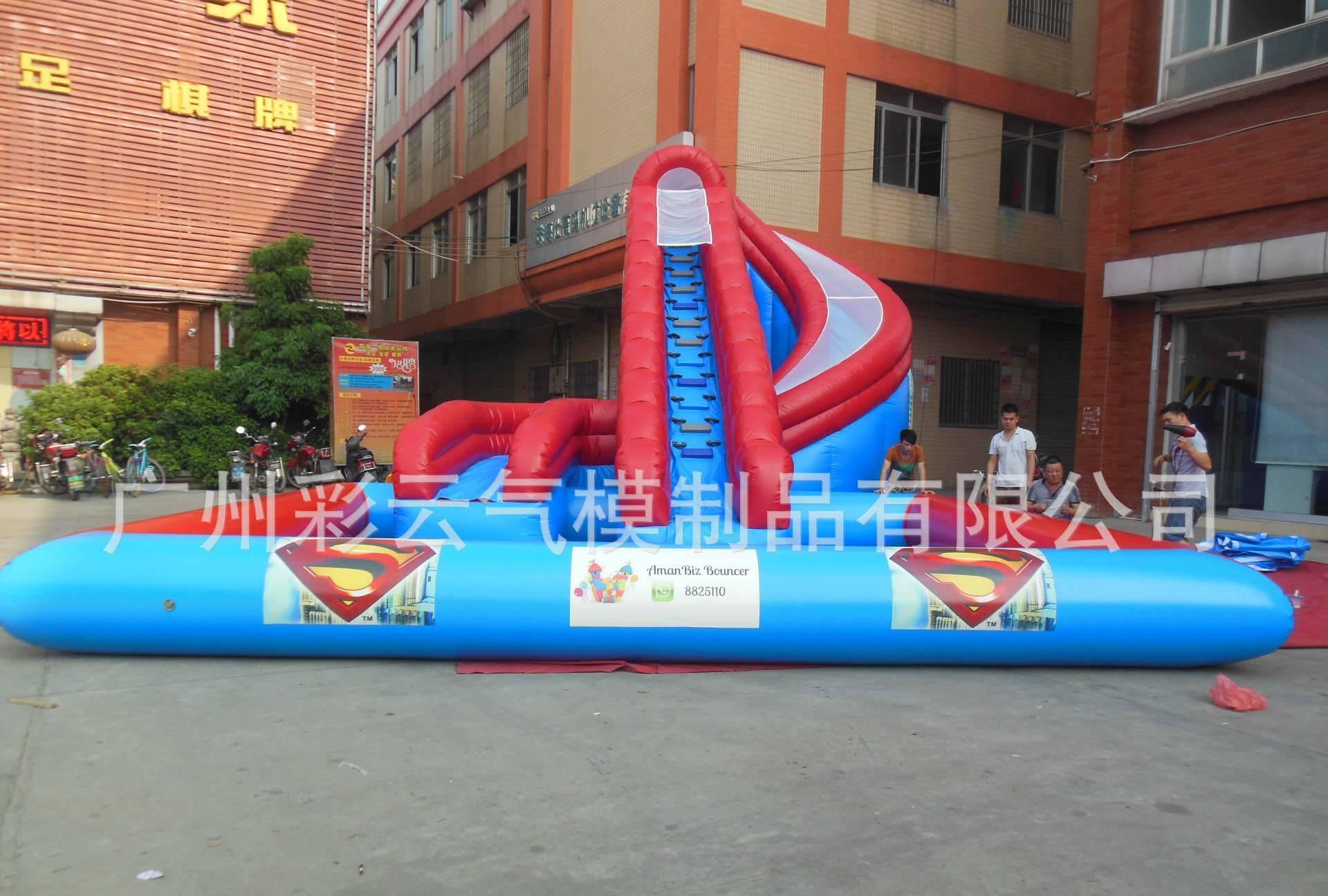 大型充玩具厂家_【厂家热销动漫水世界大型充蜘蛛侠水滑梯水上冲关玩具模型