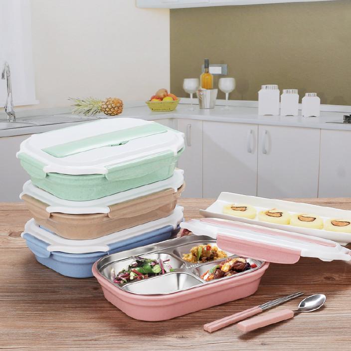 小麦秸秆餐具带盖304不锈钢内格餐盘 保温饭盒套装便当盒学生图片