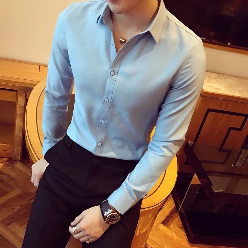 秋季男士长袖白色衬衫修身商务黑色衬衣网红社会潮流衬衫休闲韩版示例图12