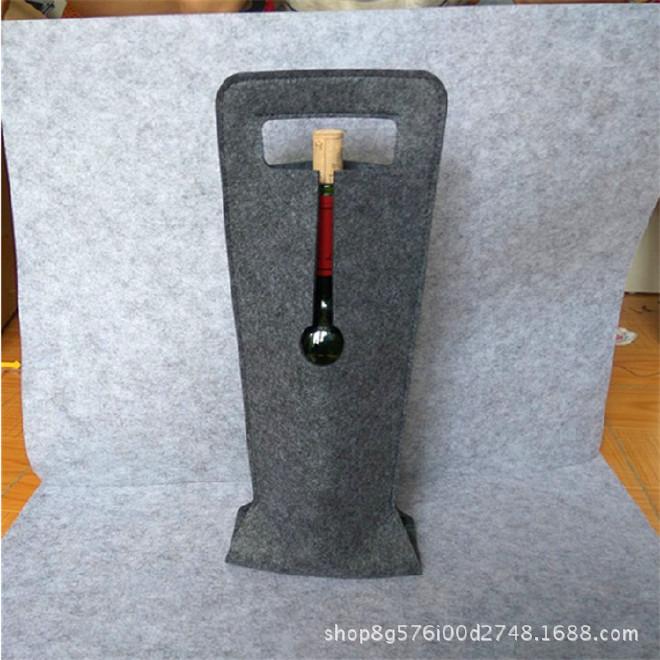 新款单支毛毡红酒袋红酒包装葡萄酒礼盒布袋礼品袋拎袋现货批发示例图6