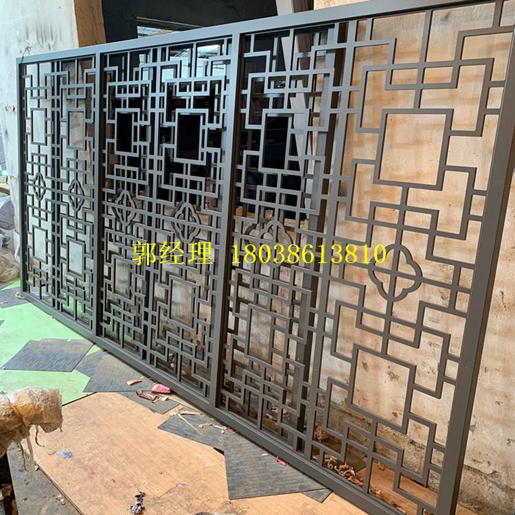 茶社仿古铝窗花定制价格 铝方管开模定制厂家 匠铝出品的中式铝窗花示例图12