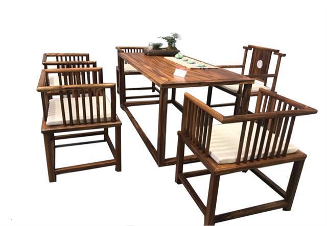 南美胡桃木茶桌六件套168*68*72可拆卖现代简约茶几实木茶桌组合示例图16