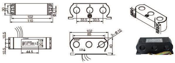安科瑞,测量型电流互感器,AKH-0.66-30I,额定电流比100-600/示例图22
