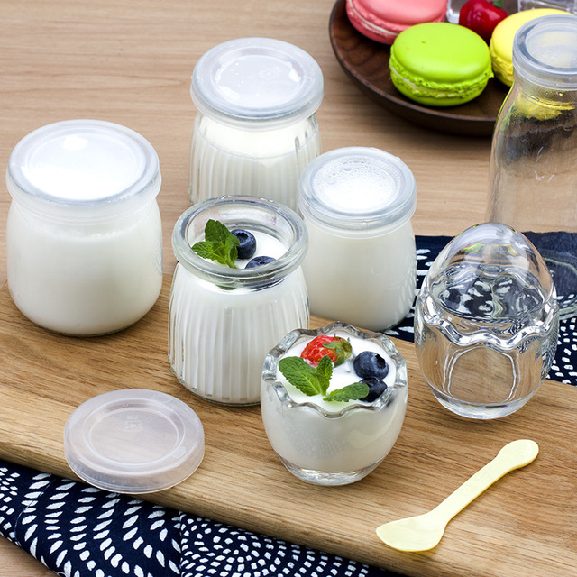 玻璃帶蓋小奶瓶 雞蛋殼 慕斯果凍瓶 豎紋布丁酸奶瓶木糠杯