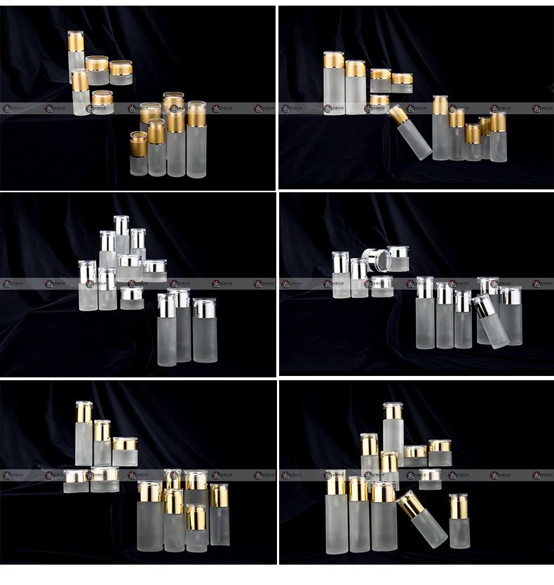广州誉塑包装厂家直销化妆品玻璃瓶亚克力盖磨砂套装瓶系列分装瓶示例图18