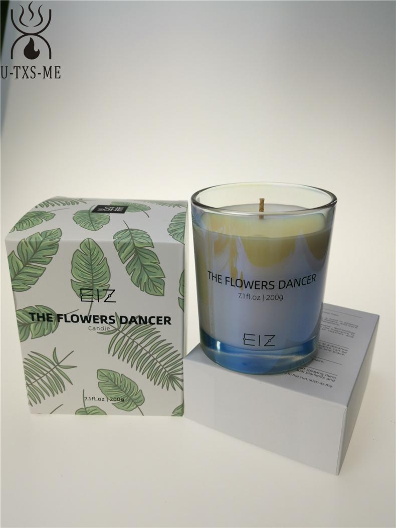 工厂定制七彩珠光玻璃杯家居植物精油环保进口大豆蜡香薰蜡烛示例图7