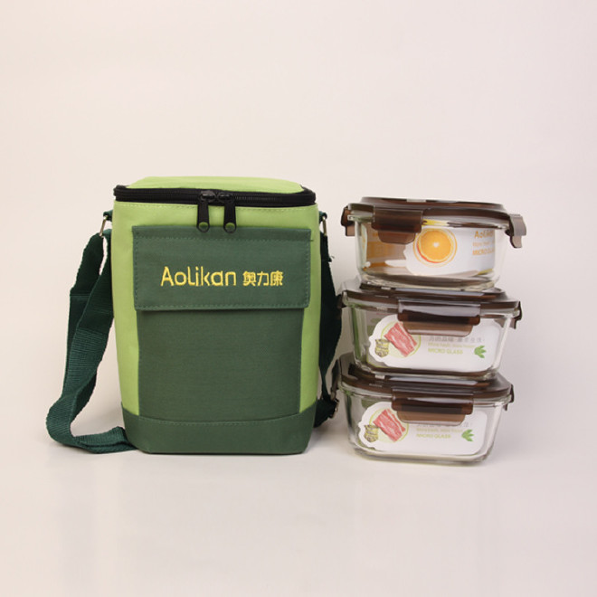 热卖新款韩国保温饭盒 玻璃保鲜碗三件套 方形密封钢化玻璃保鲜盒图片