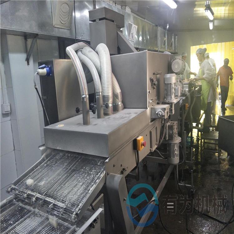 膠州藕夾上粉機 出口品質藕盒茄盒裹粉機 有為機械茄子盒油炸生產線
