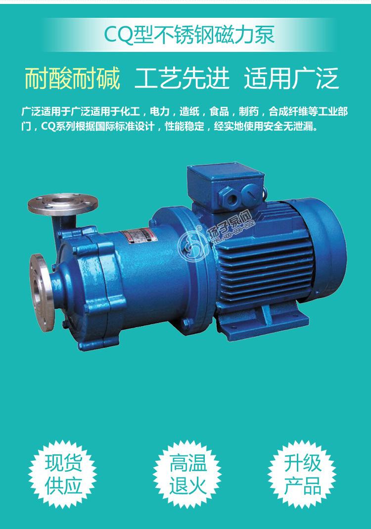 扬子CQ普通型304不锈钢磁力泵 316防腐蚀磁力泵 无泄漏磁力驱动泵示例图3