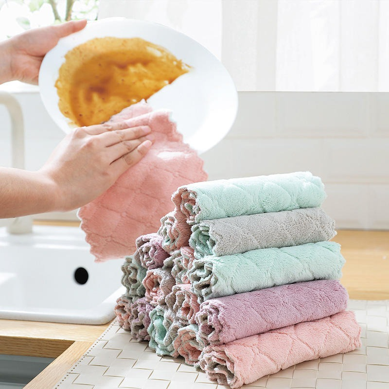 雙面吸水洗碗布 不沾油吸水抹布 珊瑚絨廚房抹布
