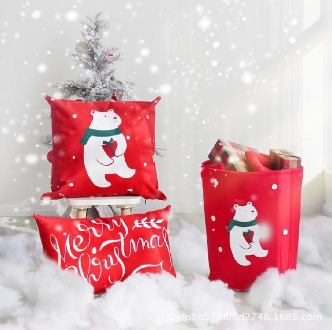 创意卡通不织布收纳桶毛毡玩具杂物收纳筐圣诞节礼物桶 可定制示例图5