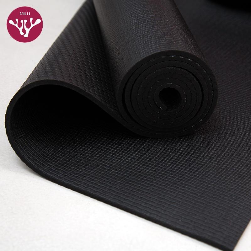杭州朗群瑜伽垫厂家直供跨境货源 认证起源 专供外贸 传奇黑垫 防滑 高密度PVC黑色瑜伽垫