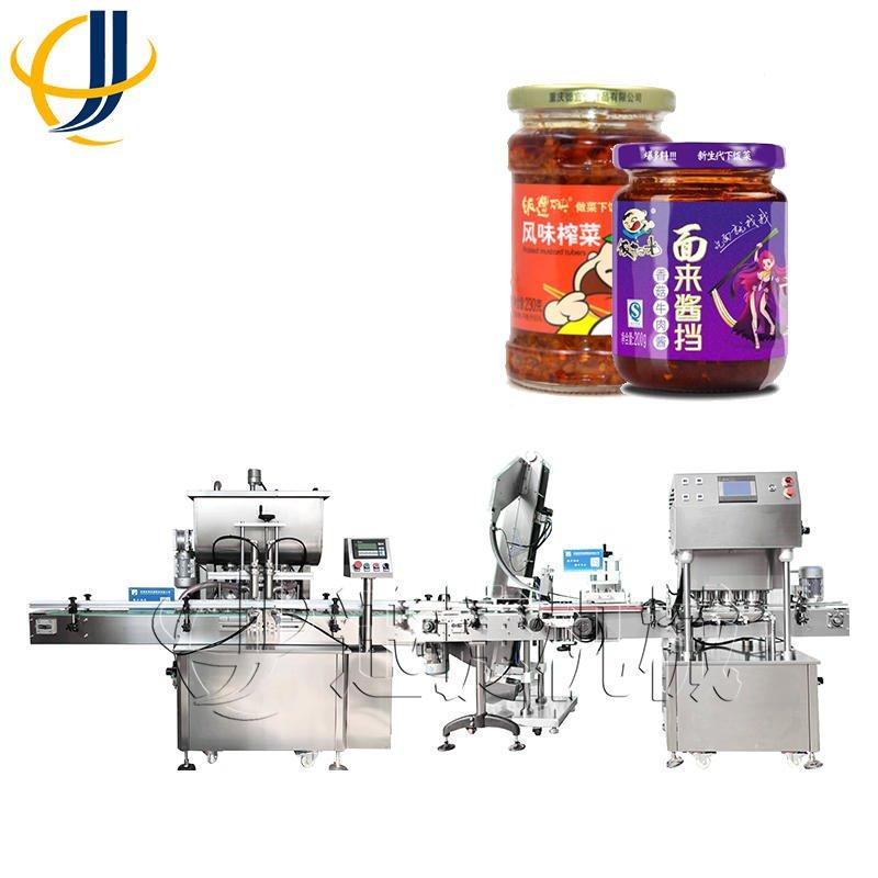 直销 酱料灌装机 全自动辣椒酱豆瓣酱灌装旋盖配套设备 质量好 迅捷机械
