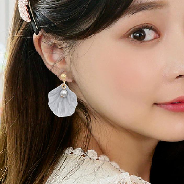花朵耳釘女立體花瓣小耳墜珍珠耳飾品甜美超仙耳環可愛韓國氣質女