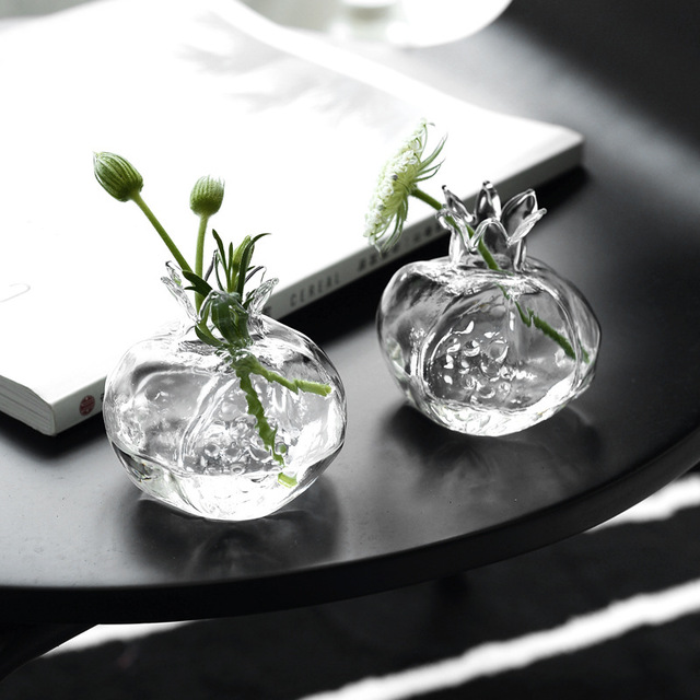 ReFound創意石榴造型手作玻璃小花瓶迷你桌面裝飾插花瓶水培花器