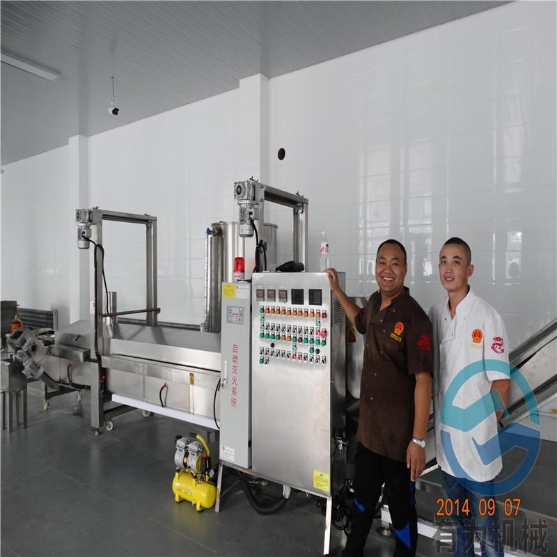 食品厂用面包虾裹糠机 有为机械X-300面包虾上浆机 加工定制锅包肉上浆油炸机生产线