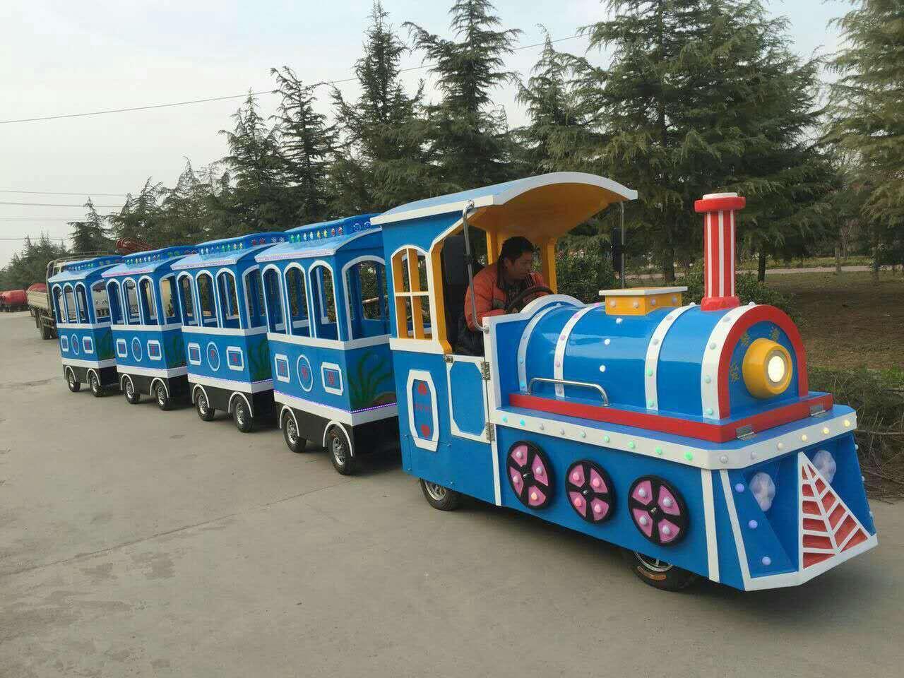 2020仿古观光火车儿童游乐设备 郑州无轨观光火车大洋生产厂家直销游艺设施示例图6