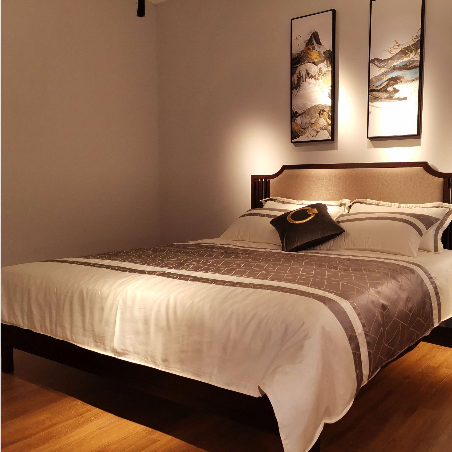 现代新中式竞技宝和雷竞技哪个好床 简约卧室双人床 大婚床乌金木雷竞技靠谱吗 可定制示例图6