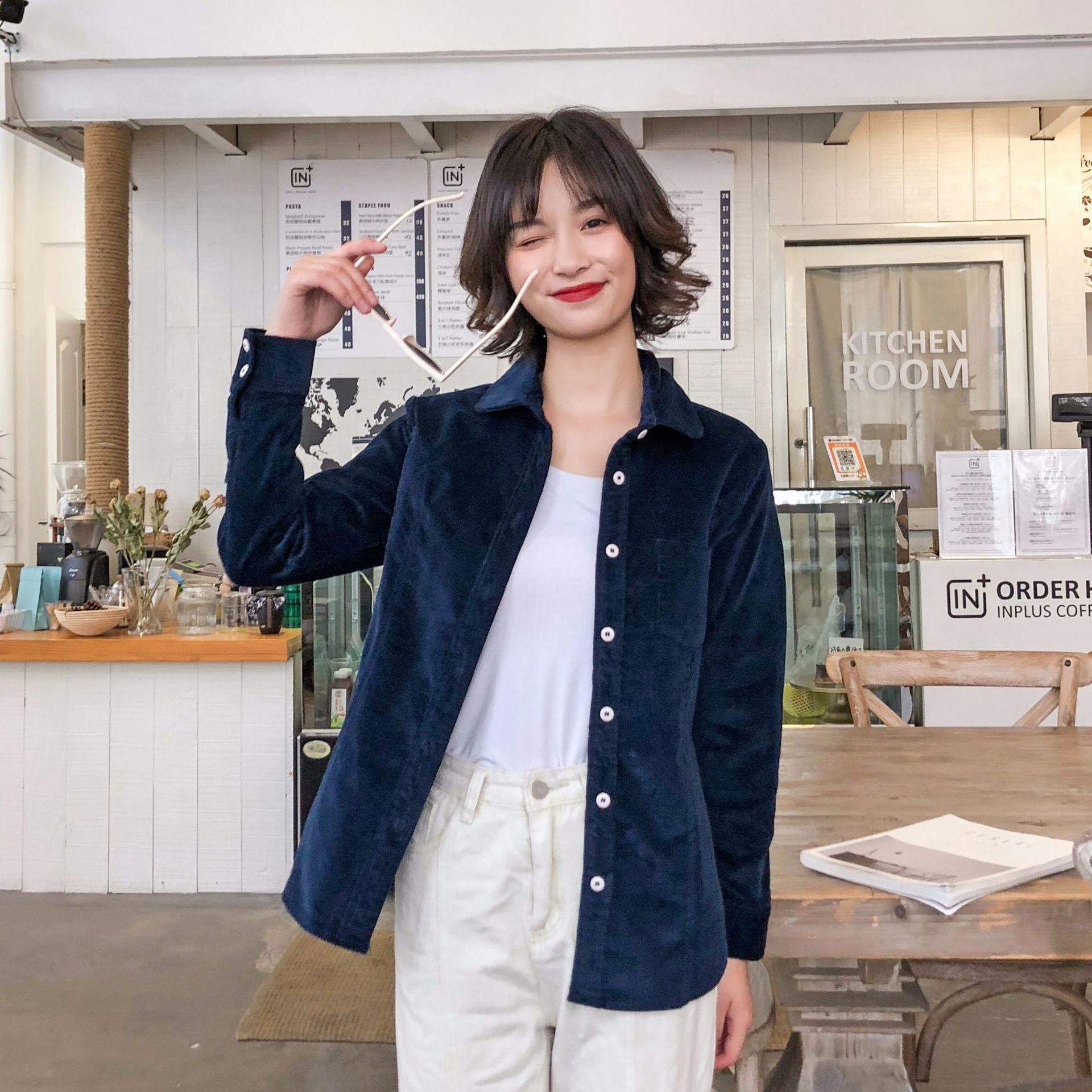 2019秋款灯芯绒长袖衬衫 少女款韩版休闲灯芯绒衬衣女一件代发