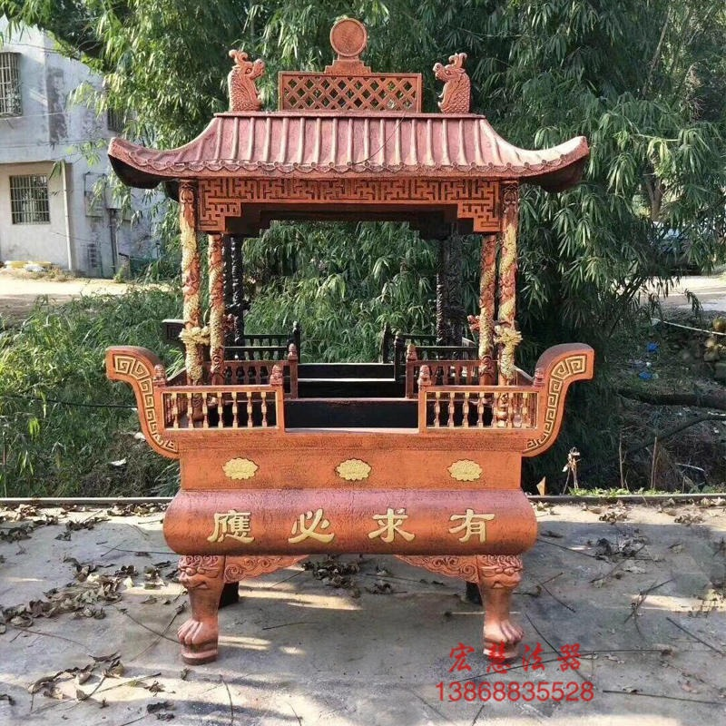 四龍柱香爐 八龍柱香爐 長方形帶蓋香爐 寺廟香爐宏慧法器批發