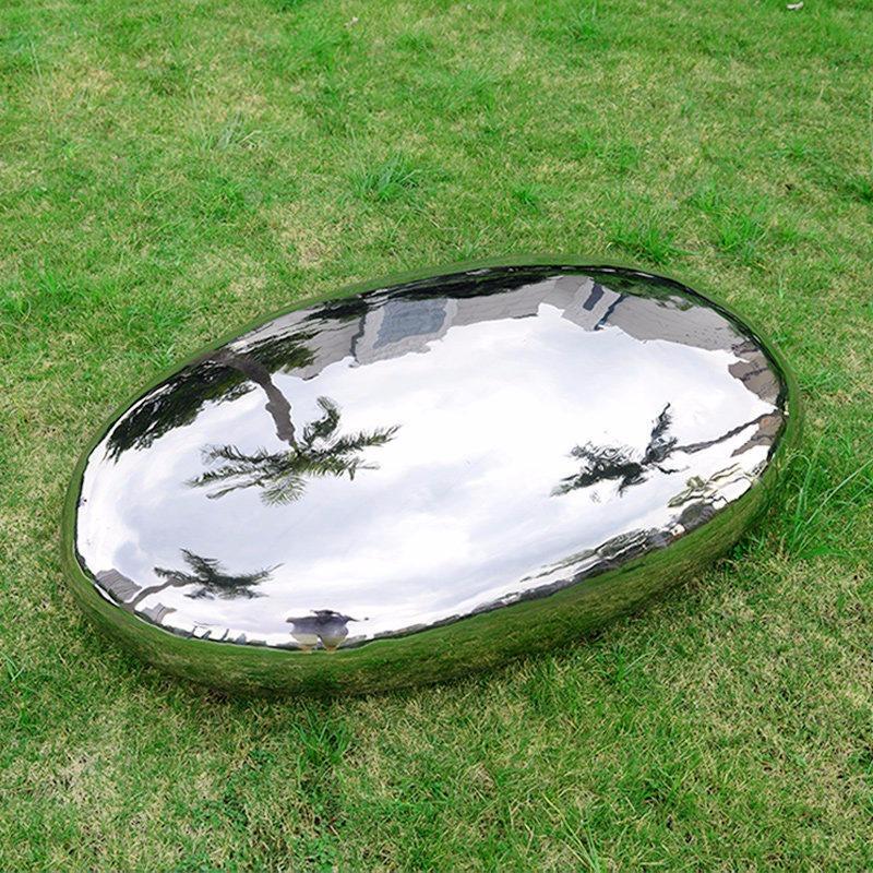 不锈钢鹅卵石雕塑 镜面异形石头雕塑 小区绿化景观摆件 唐韵雕塑