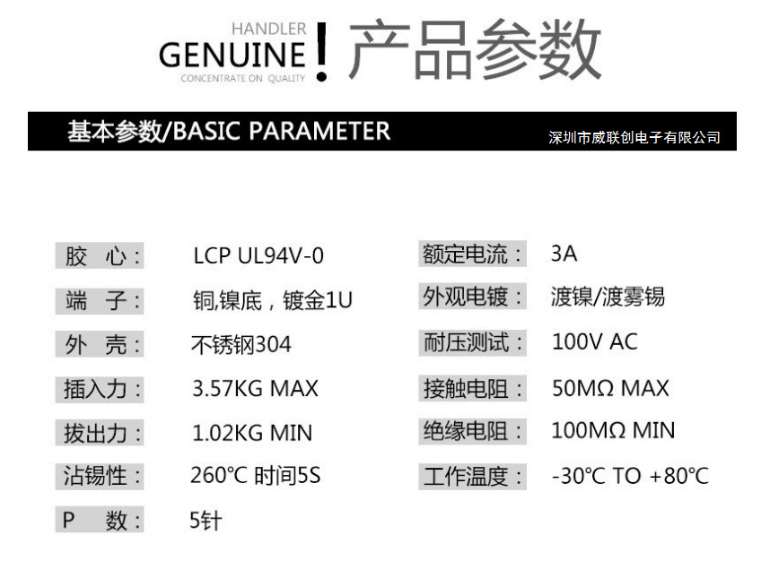 USB A公/AM 2.0USB贴板公头 黑胶PBT-灰胶LCP 耐温示例图2