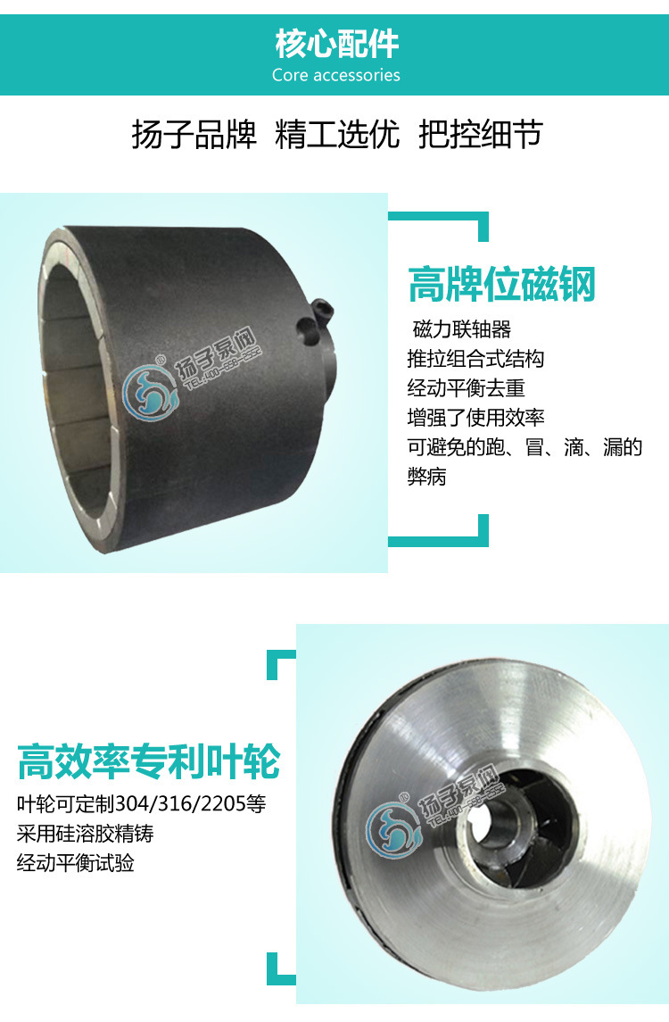扬子CQ普通型304不锈钢磁力泵 316防腐蚀磁力泵 无泄漏磁力驱动泵示例图7