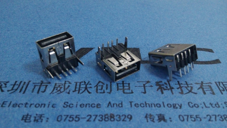 A母90度USB 插件DIP 弯脚卷边 黑色胶芯+有后盖示例图4