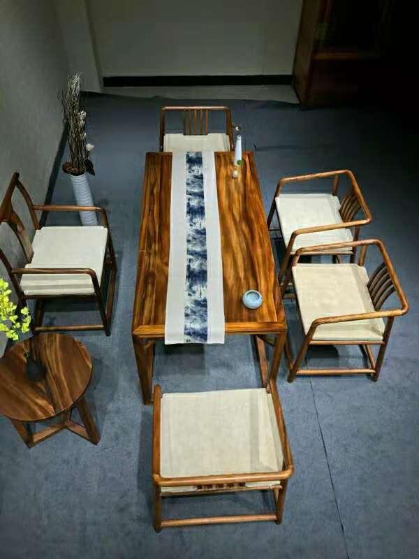 南美胡桃木精美茶桌六件套竞技宝和雷竞技哪个好原木休闲泡茶桌示例图1